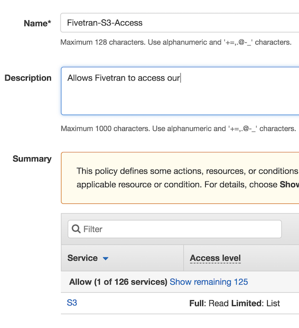 Amazon S3 Policy Review Button