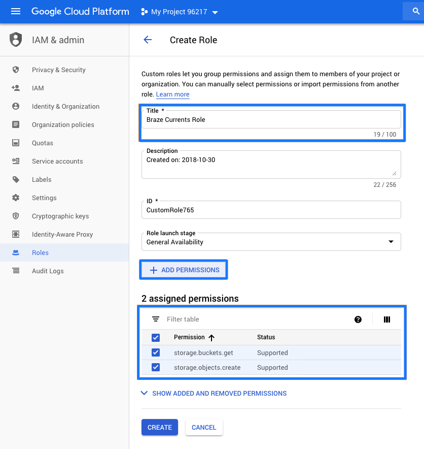 Braze Google Cloud Storage