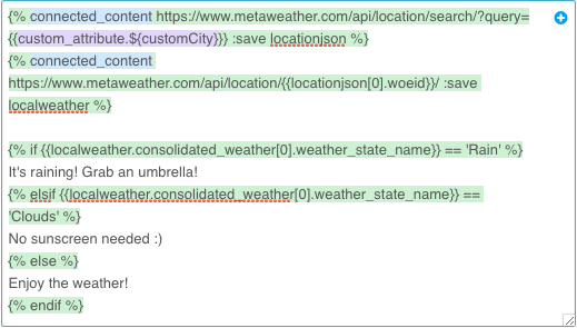 Connected Content Syntax Example