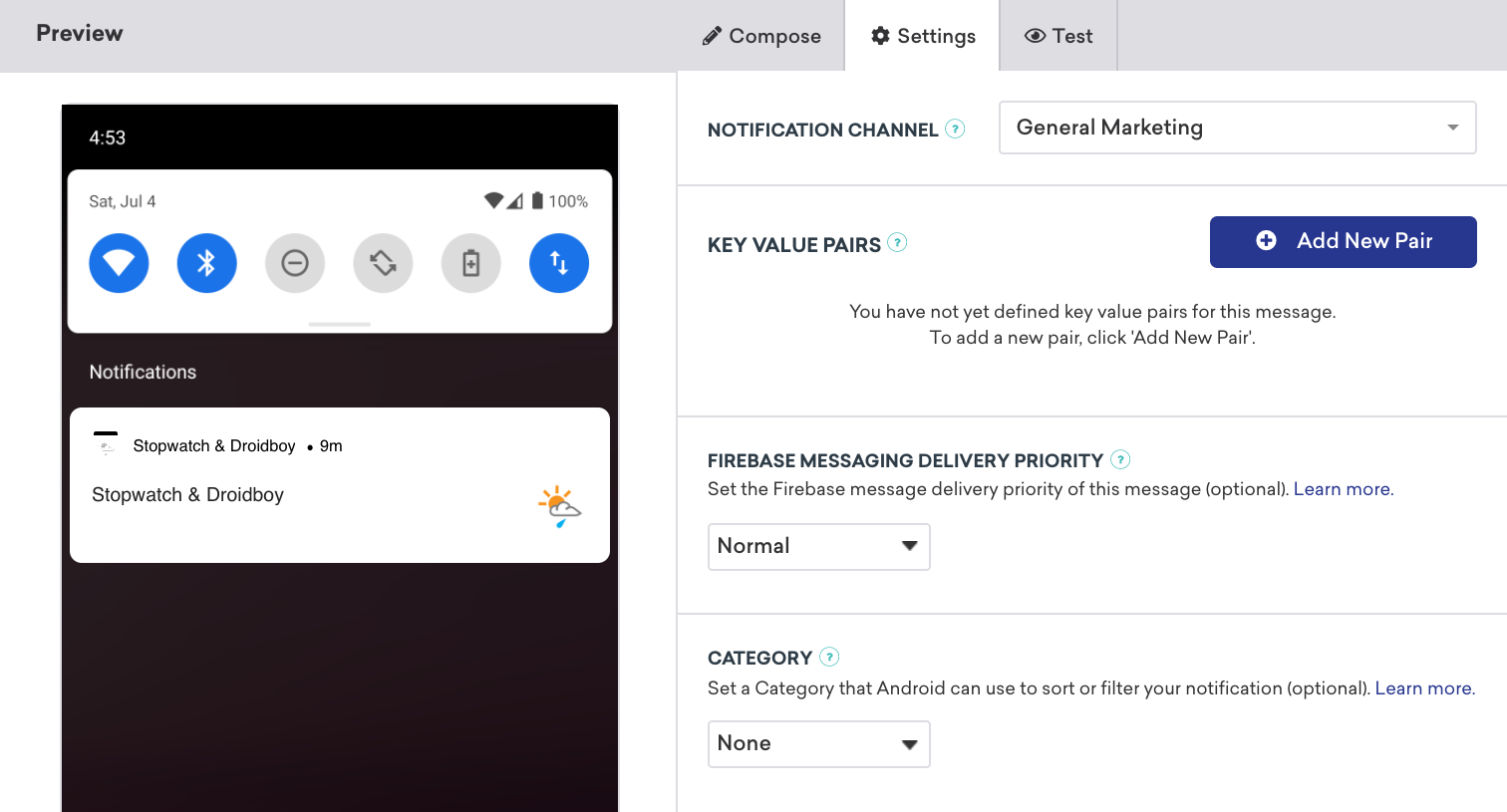 Dashboard Push Priority Location
