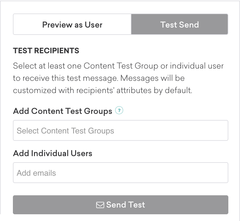 Content test group settings