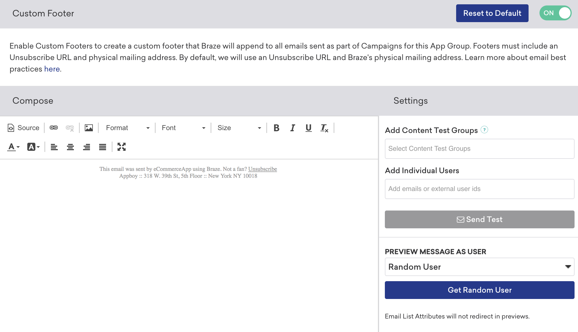 Braze Managing User Subscriptions