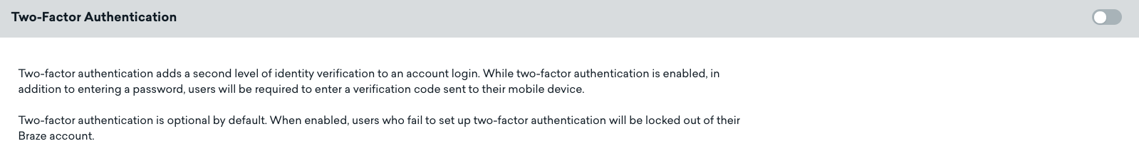 Two-Factor Authentication - Company Settings